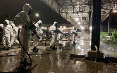 Exército faz desinfecção sanitária nas rodoviárias de Campos